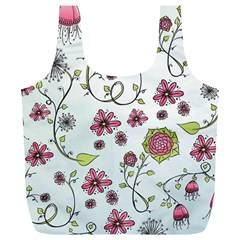 Pink whimsical flowers on blue Reusable Bag (XL)