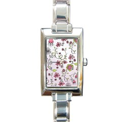 Pink Whimsical Flowers On Pink Rectangular Italian Charm Watch
