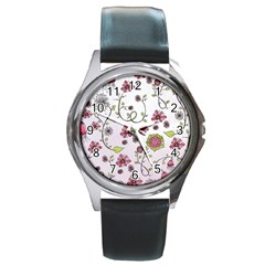Pink whimsical flowers on pink Round Leather Watch (Silver Rim)