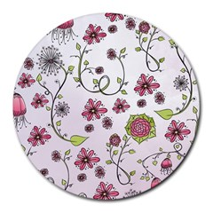 Pink whimsical flowers on pink 8  Mouse Pad (Round)