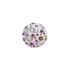 Pink Whimsical Flowers On Pink 1  Mini Button