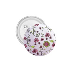 Pink whimsical flowers on pink 1.75  Button