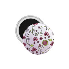 Pink whimsical flowers on pink 1.75  Button Magnet