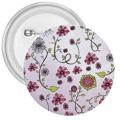 Pink whimsical flowers on pink 3  Button