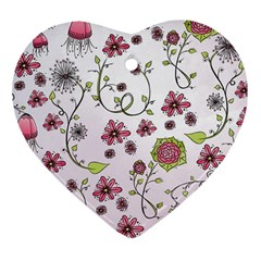 Pink whimsical flowers on pink Heart Ornament