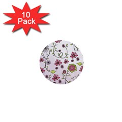 Pink Whimsical Flowers On Pink 1  Mini Button (10 Pack)