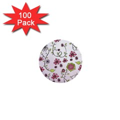 Pink whimsical flowers on pink 1  Mini Button (100 pack)