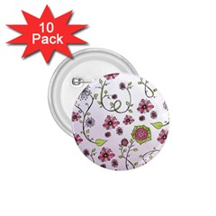 Pink whimsical flowers on pink 1.75  Button (10 pack)