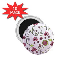 Pink whimsical flowers on pink 1.75  Button Magnet (10 pack)