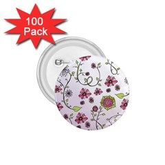 Pink Whimsical Flowers On Pink 1 75  Button (100 Pack)