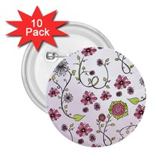 Pink Whimsical Flowers On Pink 2 25  Button (10 Pack)