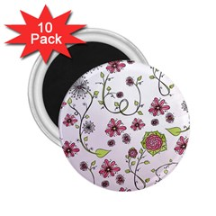 Pink Whimsical Flowers On Pink 2 25  Button Magnet (10 Pack)