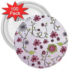 Pink whimsical flowers on pink 3  Button (100 pack)