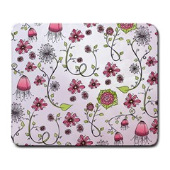 Pink whimsical flowers on pink Large Mouse Pad (Rectangle)