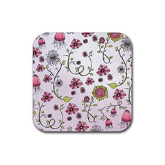 Pink whimsical flowers on pink Drink Coasters 4 Pack (Square)