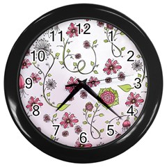 Pink Whimsical Flowers On Pink Wall Clock (black)