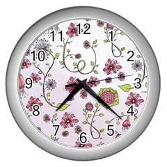 Pink whimsical flowers on pink Wall Clock (Silver)