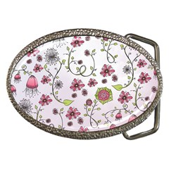 Pink Whimsical Flowers On Pink Belt Buckle (oval)