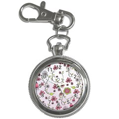 Pink whimsical flowers on pink Key Chain Watch