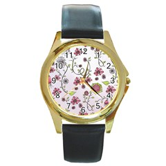 Pink Whimsical Flowers On Pink Round Leather Watch (gold Rim)