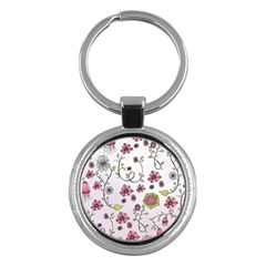 Pink whimsical flowers on pink Key Chain (Round)