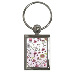 Pink whimsical flowers on pink Key Chain (Rectangle)