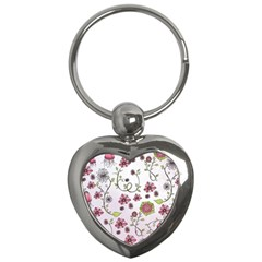 Pink Whimsical Flowers On Pink Key Chain (heart)