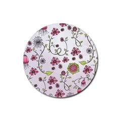 Pink whimsical flowers on pink Drink Coasters 4 Pack (Round)