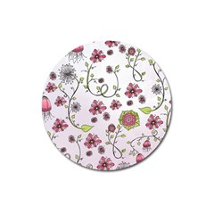 Pink Whimsical Flowers On Pink Magnet 3  (round)