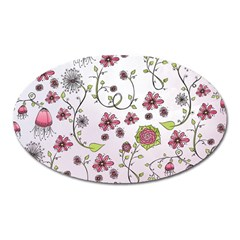 Pink whimsical flowers on pink Magnet (Oval)
