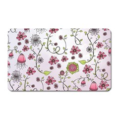 Pink Whimsical Flowers On Pink Magnet (rectangular)