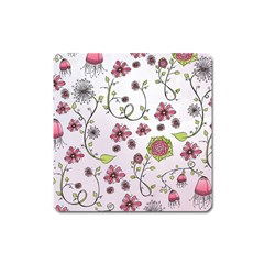 Pink whimsical flowers on pink Magnet (Square)