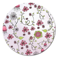 Pink whimsical flowers on pink Magnet 5  (Round)