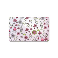 Pink Whimsical Flowers On Pink Magnet (name Card)