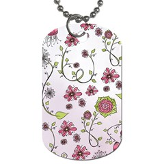 Pink whimsical flowers on pink Dog Tag (One Sided)