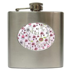 Pink whimsical flowers on pink Hip Flask