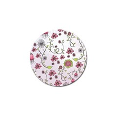 Pink whimsical flowers on pink Golf Ball Marker