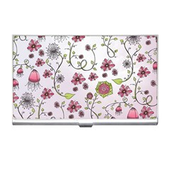 Pink whimsical flowers on pink Business Card Holder