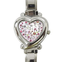 Pink Whimsical Flowers On Pink Heart Italian Charm Watch