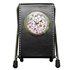 Pink whimsical flowers on pink Stationery Holder Clock