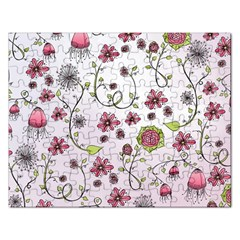 Pink whimsical flowers on pink Jigsaw Puzzle (Rectangle)
