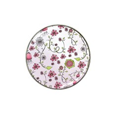 Pink whimsical flowers on pink Golf Ball Marker 4 Pack (for Hat Clip)