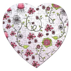 Pink Whimsical Flowers On Pink Jigsaw Puzzle (heart)