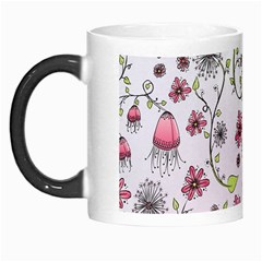 Pink whimsical flowers on pink Morph Mug