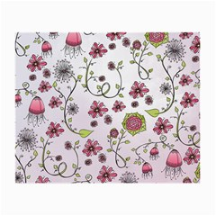 Pink whimsical flowers on pink Glasses Cloth (Small)