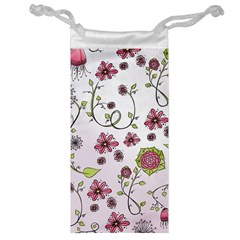 Pink whimsical flowers on pink Jewelry Bag