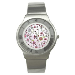 Pink whimsical flowers on pink Stainless Steel Watch (Slim)