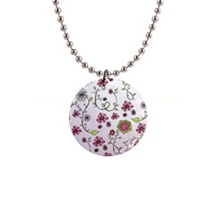 Pink Whimsical Flowers On Pink Button Necklace
