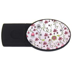 Pink Whimsical Flowers On Pink 4gb Usb Flash Drive (oval)