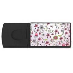 Pink Whimsical Flowers On Pink 4gb Usb Flash Drive (rectangle)